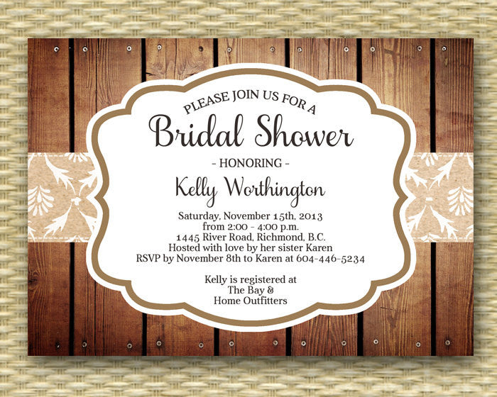Bridal Shower Invitation - Rustic Fall, Autumn, Wood - Samantha Style - ANY COLOR - Any Event, Birthday, Baby Shower, Thanksgiving, Party