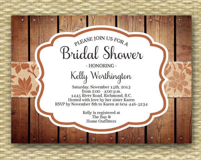 Fall Bridal Shower Invitation Rustic Fall Bridal Shower Shabby Chic Autumn Bridal Brunch Bridal Tea, ANY EVENT, Any Colors