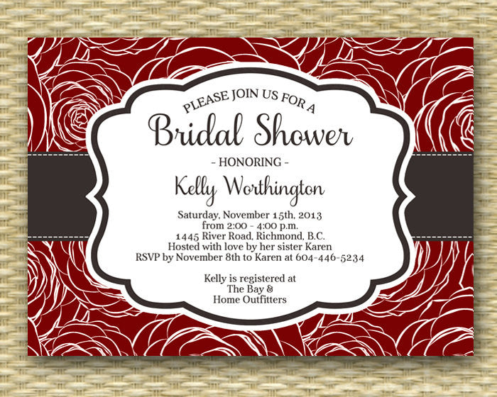 Bridal Shower Invitation Cranberry Red Roses Rustic Fall Bridal Shower Autumn Bridal Brunch Bridal Tea Bridal Luncheon, ANY EVENT, Any Color