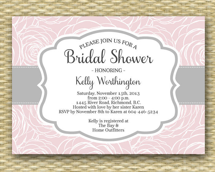 Printable Bridal Shower Invitation Pink Roses Pink Grey Elegant Bridal Brunch Bridal Tea, ANY EVENT, Any Colors