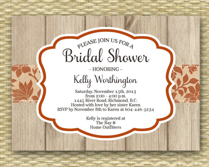 Bridal Shower Invitation - Rustic Fall, Autumn, Wood3 - Samantha Style - ANY COLOR - Any Event, Birthday, Baby Shower, Thanksgiving, Party