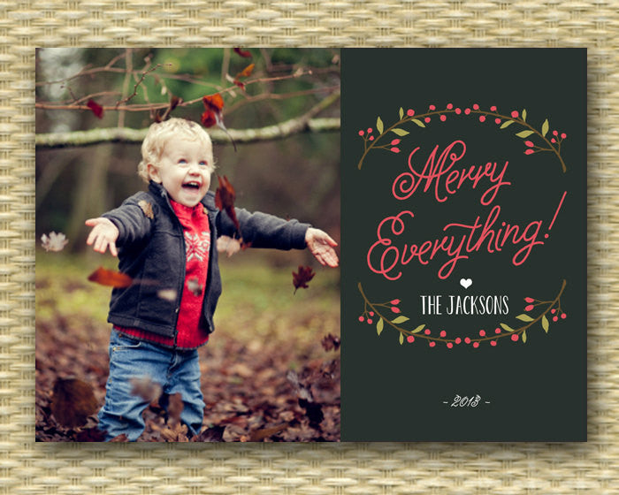 Christmas Photo Card - Customized, DIY Printable, Holiday - Holly Folk Wreath