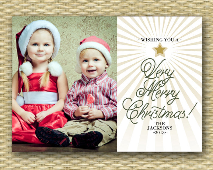 Christmas Photo Card - Customized, DIY Printable, Holiday - Tree Typography1