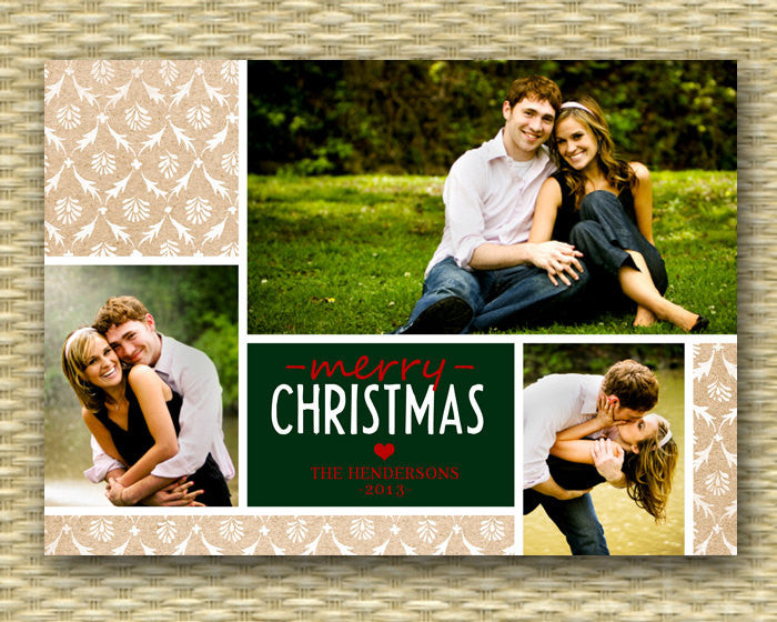 Christmas Photo Card - DIY Printable, Holiday - Rustic Kraft 3 Photo Collage - ANY COLOR