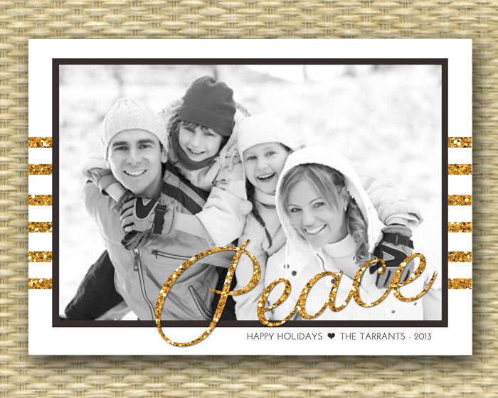 Christmas Photo Card - DIY Printable, Holiday - Peace Gold and Glitter
