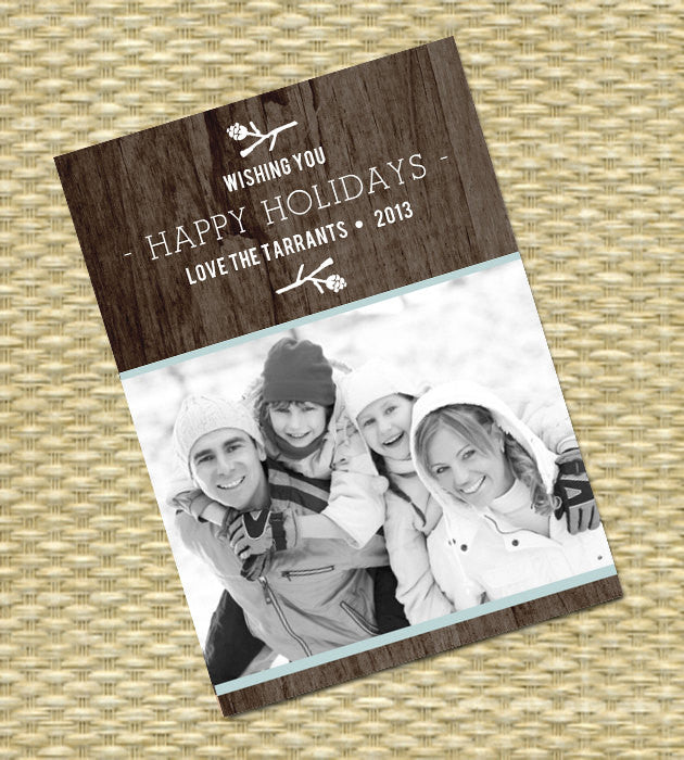 Rustic Christmas Photo Card - DIY Printable, Holiday - Wood Grain