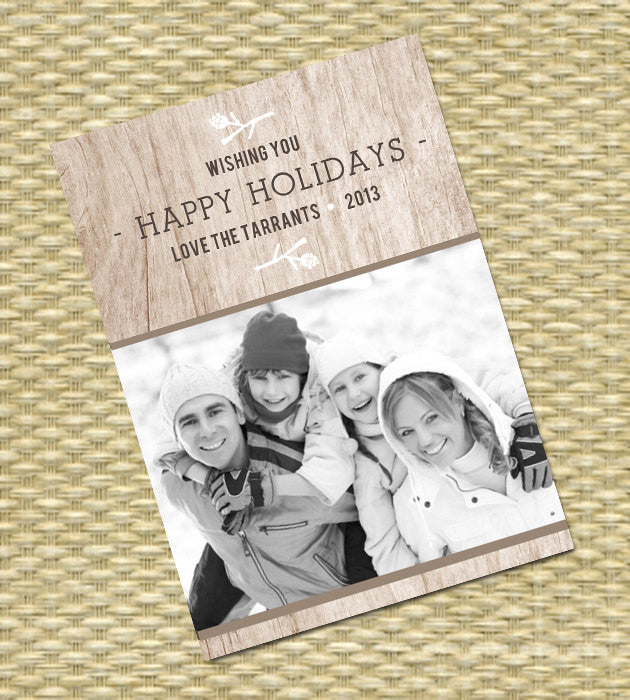Rustic Christmas Photo Card - DIY Printable, Holiday - Wood Grain2