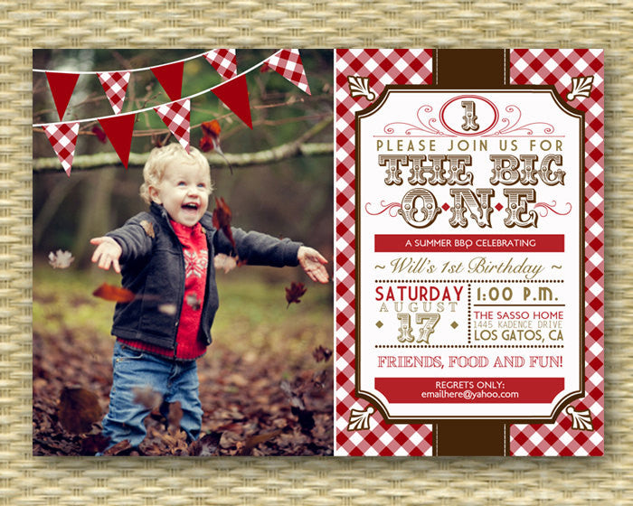 1st Birthday Invitation - Country Western BBQ Picnic - Photo Card