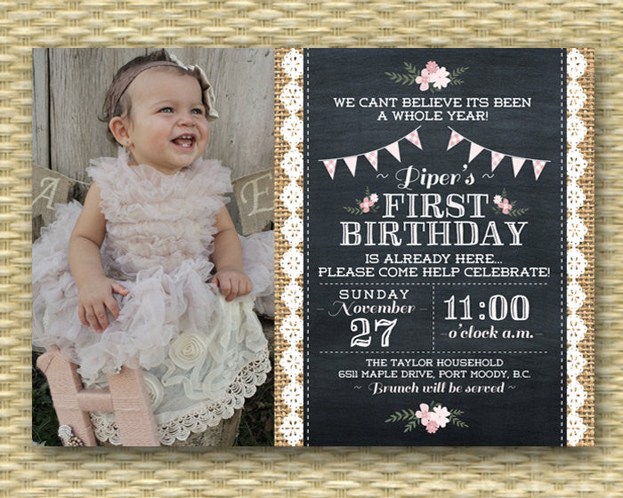 1st Birthday Invitation Shabby Chic Tea Party Vintage Chalkboard Rustic Burlap Lace Flowers Baby Girl First Invite Any Event