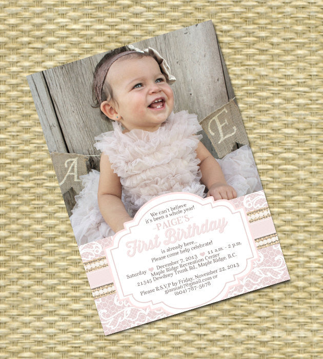 1st birthday invitation burlap lace pearls first birthday shabby 1st birthday invitation burlap lace pearls first birthday shabby chic tea party birthday party invite vintage lace soft pink any colors filmwisefo