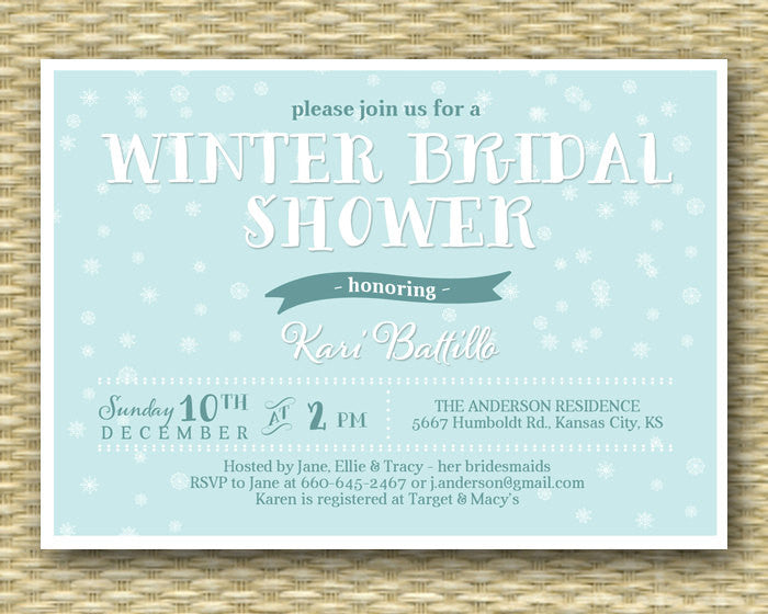 winter bridal shower invitation snowflake bridal shower baby its cold bridal brunch bridal tea invitation any event