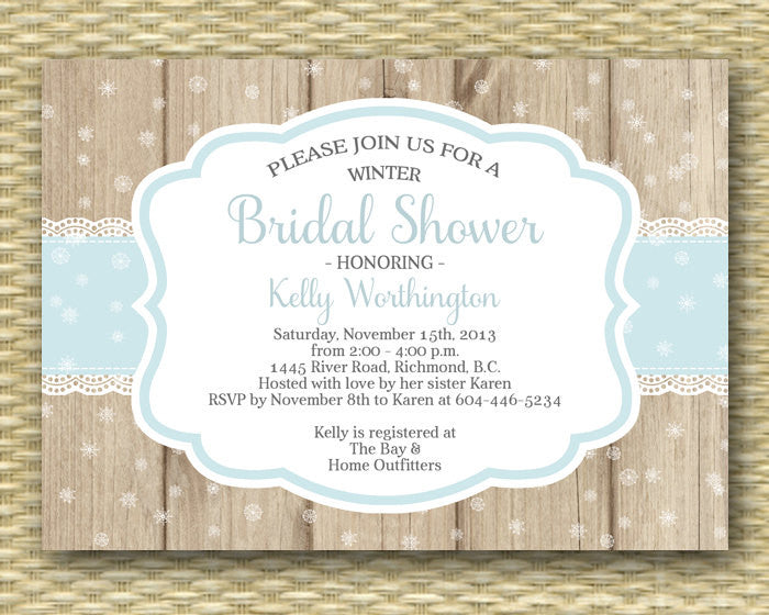 Winter Bridal Shower Invitation Baby It's Cold Rustic Wood Lace Snowflake Rustic Country Ice Blue, Any Colos, ANY EVENT