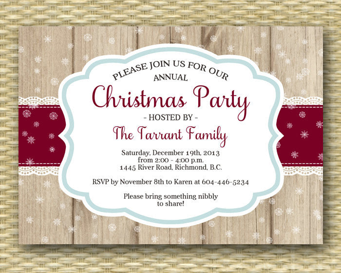 Winter Bridal Shower Invitation, Rustic Bridal Shower, Christmas Party Invitation - Any Color Scheme