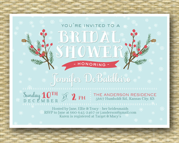 Winter Bridal Shower Invitation Winter Snowflake Shower Christmas Bridal Shower Baby It's Cold Icy Blue Aqua Red Green, ANY EVENT