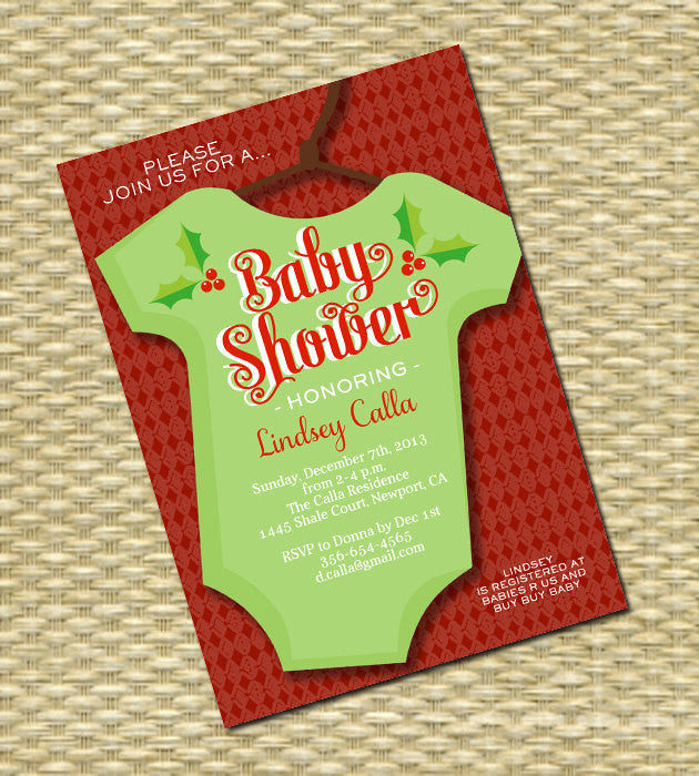 Printable Baby Shower Invitation Christmas Holiday Baby Boy Baby Girl Gender Neutral Retro Xmas, Any Event, ANY COLOR SCHEME