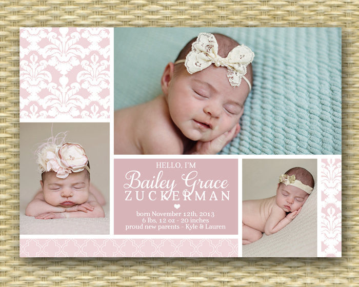 Birth Announcement - 3 Photo Baby Announcement - Damask, Quatrefoil - Bailey Grace - Any Color Scheme