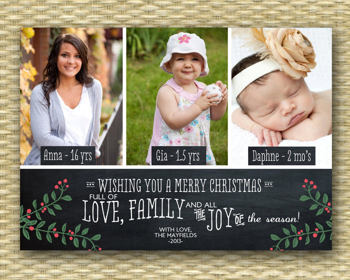 Christmas Photo Card - Customized, DIY Printable, Holiday - Chalkboard 3 Photo LS