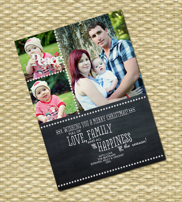 Christmas Photo Card - Customized, DIY Printable, Holiday - Chalkboard 3 Photo Portrait