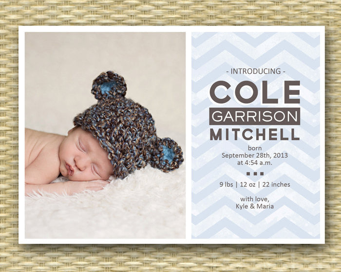 Baby Announcement Baby Boy Birth Announcement Baby Girl Chevron Typography Style Any Colors