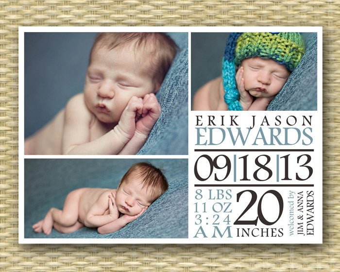 Custom Birth Announcement, 3 Photo/4 Photo Typography - Erik - Baby Boy, Baby Girl