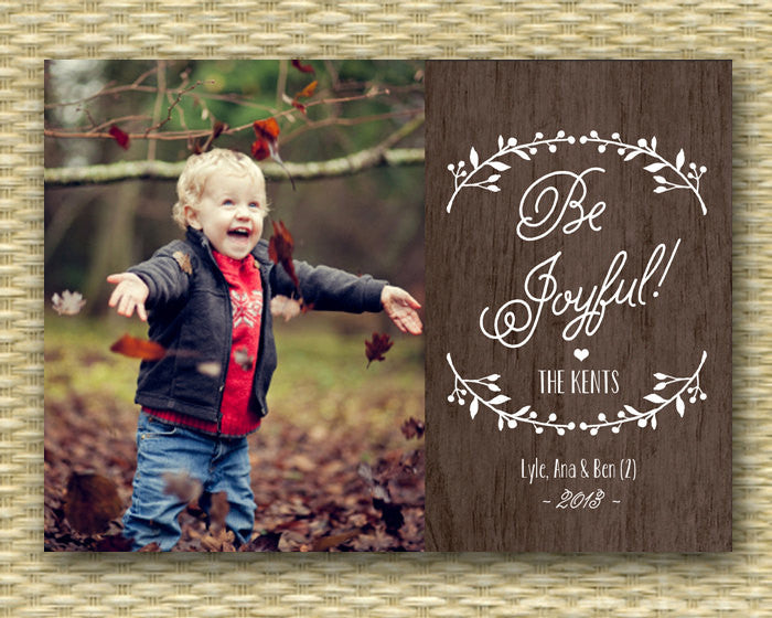 Rustic Custom Photo Christmas Card - Wood and Berries Style