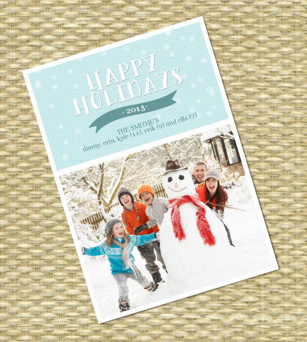 Holiday, Christmas Photo Card - Customized, DIY Printable - Whimsical Winter Snowflake1