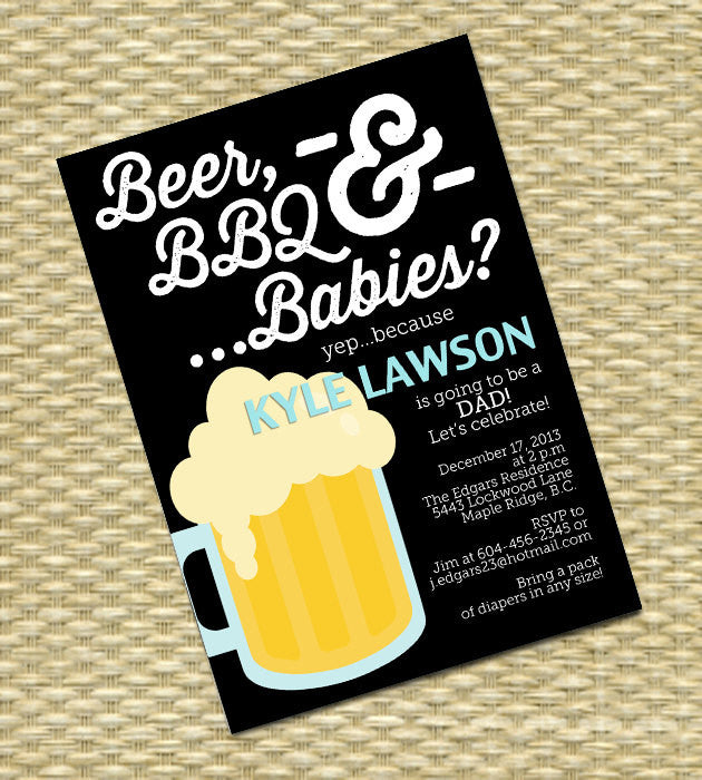 Beer and Diaper Party Invitation, Man Shower, Beer, BBQ and Babies, Dudes and Diapers Baby Shower Invitation -  Any Color Scheme - Any Event