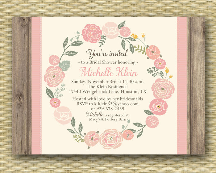 Floral Bridal Shower Invitation Rustic Wood Floral Wreath Bridal Brunch Bridal Tea Baby Shower Invitation, ANY EVENT
