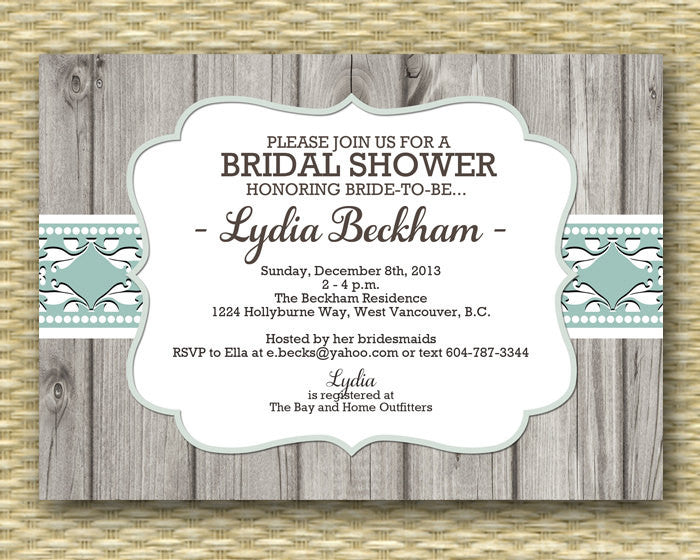 Rustic Bridal Shower Invitation Shabby Chic Bridal Brunch Bridal Tea Vintage Lace Wood Country Western, ANY EVENT, Any Colors
