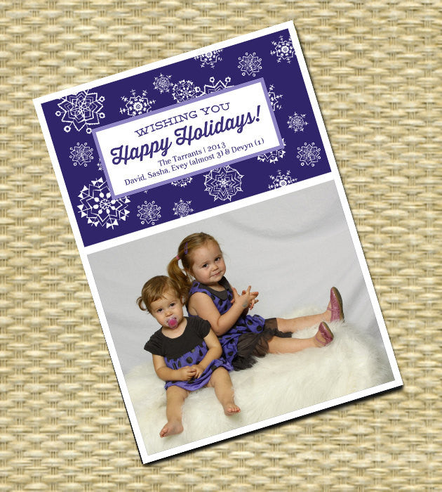 Holiday, Christmas Photo Card - Customized, DIY Printable - Whimsical Winter Snowflake3
