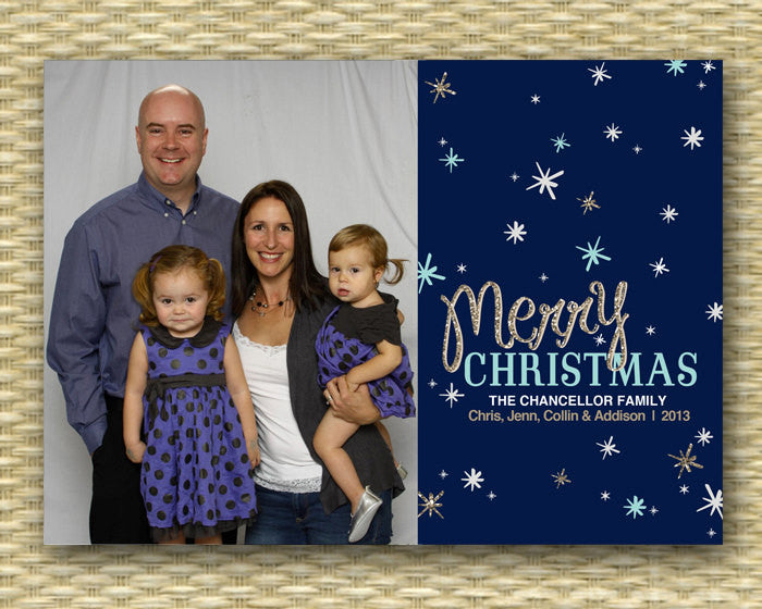 Christmas Photo Card - DIY Printable, Holiday - Starry Night Merry Christmas