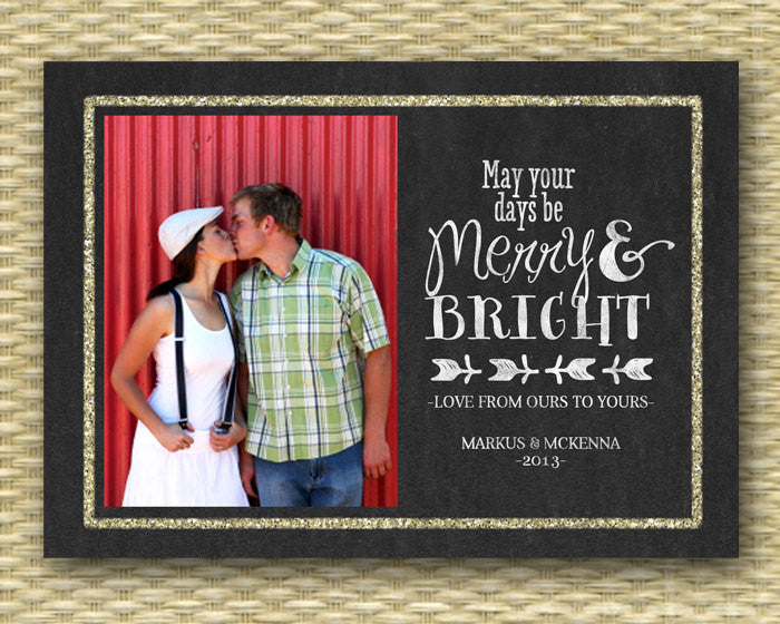 Christmas Photo Card - Customized, DIY Printable, Holiday - Glitter Chalkboard Merry & Bright Typography
