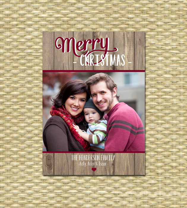 Rustic Christmas Photo Card - Customized, DIY Printable, Holiday - Rustic Merry Christmas, Wood, Folk