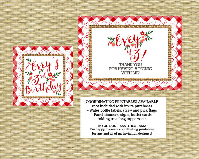1st Birthday Invitation Birthday Picnic Party First Birthday Summer Picnic Strawberry Picnic Party Invitation, Any Colors