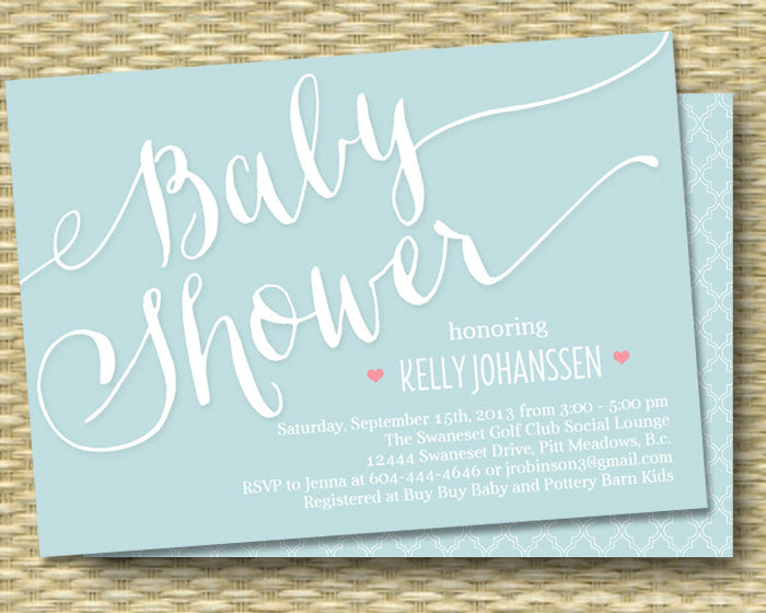 Printable Baby Shower Invitation - Script Typography - Modern, Whimsical - Any Color Scheme