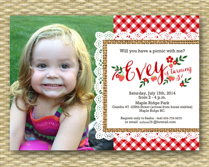 1st Birthday Invitation Picnic Party Summer First Strawberry Farm Market Photo Card Any Colors