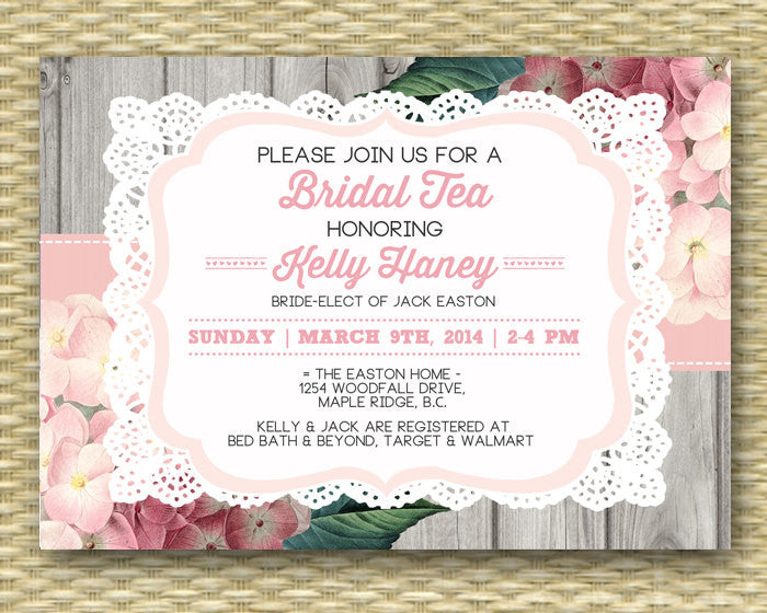 Bridal Tea Invitation Rustic Lace Bridal Shower Pink Hydrangea Floral Invite Bridal Brunch Wood Lace Country Style, ANY EVENT, Any Colors