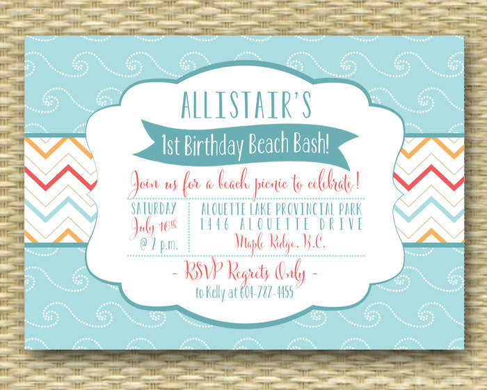 1st Birthday Invitation First Birthday Invitation Summer Beach Party Invitation Beach Birthday Invite Aqua Blue Coral Sand, ANY EVENT