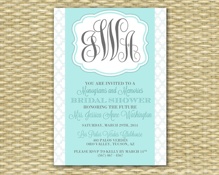 Monogram Shower Invitations Monograms and Mimosas Bridal Brunch Invitation Monogram Bridal Shower, Any Color Scheme