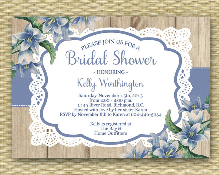 Lace Bridal Shower Invitation Rustic Wood Lace Blue Flowers Rustic Wedding Shower Country Bridal Shower Bridal Brunch Tea Party, ANY EVENT
