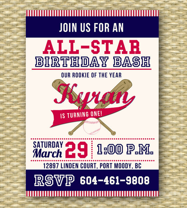Baseball Birthday Party Invitation First Any Age Event