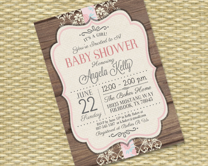 Rustic Baby Shower Invitation - Rustic Wood Vintage Lace Baby Girl1 Kelly - Bridal Shower, Birthday Invitation, ANY EVENT, Any Color Scheme