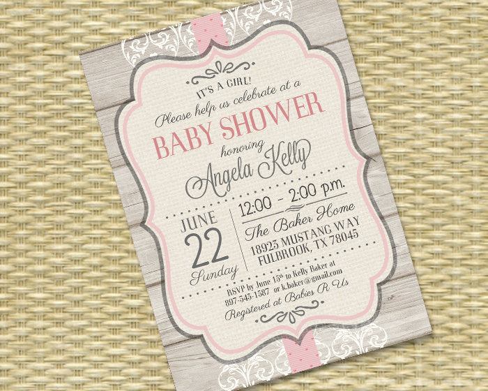 Baby Girl Shower Invitation Rustic Wood Vintage Lace Baby Girl Sip and See Baby Sprinkle Diapers and Wipes, Any Event