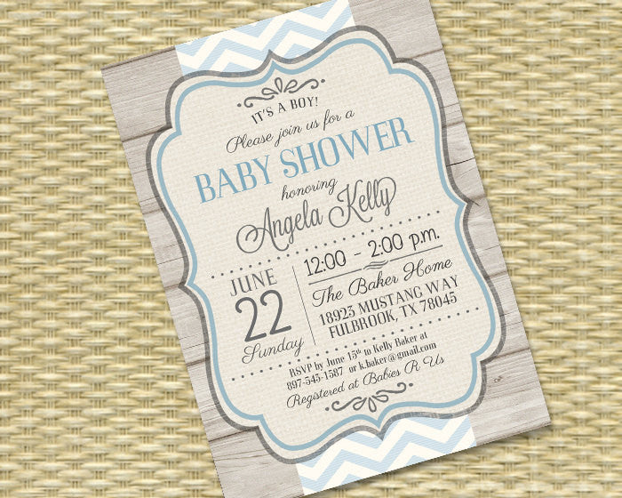 Rustic Baby Boy Shower Invitation Rustic Wood Blue Chevron Typography Baby Boy Sip and See Diaper and Wipes, ANY EVENT