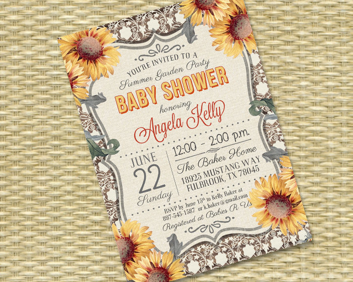Baby Shower Invitation Printable Or Printed Sunflower Baby Shower Sunflower Invitation Summer Baby Shower Rustic Baby Shower