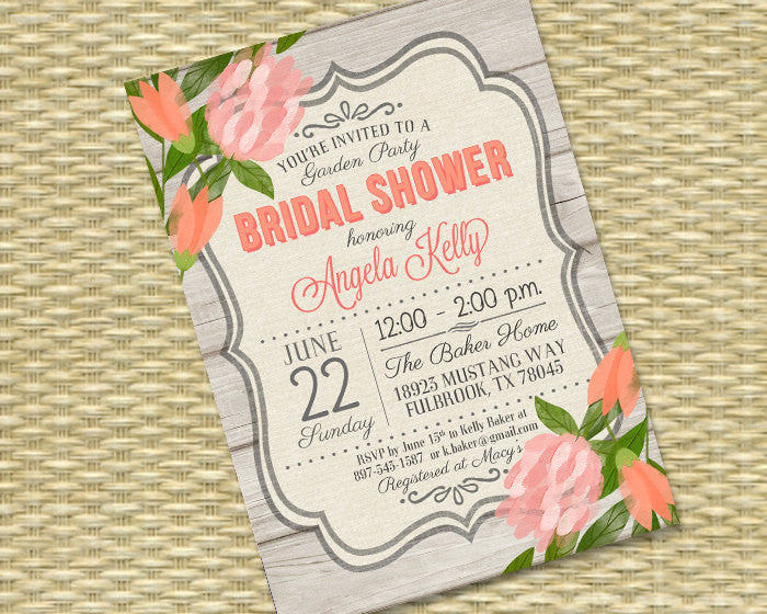 Bridal Shower Invitation Rustic Bridal Brunch Country Style Shabby Chic Bridal Tea Coral Peach Floral Invitation, ANY EVENT, Any Colors