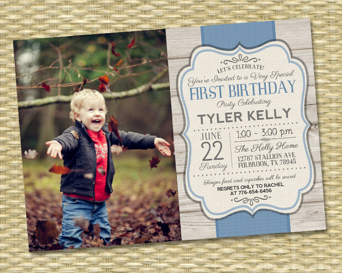 Rustic First Birthday Invitation Rustic Country Wood Typography Style Blue Boy First Birthday, ANY EVENT, Any Colors