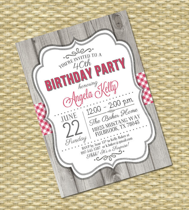 Country Western Birthday Invitation, Adult Milestone Birthday,  Rustic Wood Gingham Check2 - Any Event - Any Color Scheme - Kelly Style