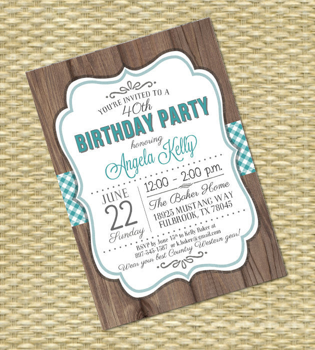 Adult Birthday Invitation Rustic Country Western Style Birthday Party Invitation BBQ Birthday Western Birthday