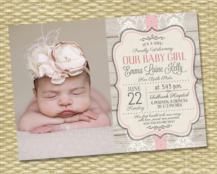 Birth Announcement - Photo Baby Girl Announcement - Rustic Wood, Lace & Ribbon Kelly Typography - Any Color Scheme